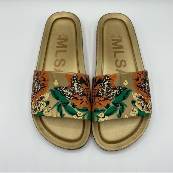 Melissa Gold Floral Print Butterfly Slides Sandals